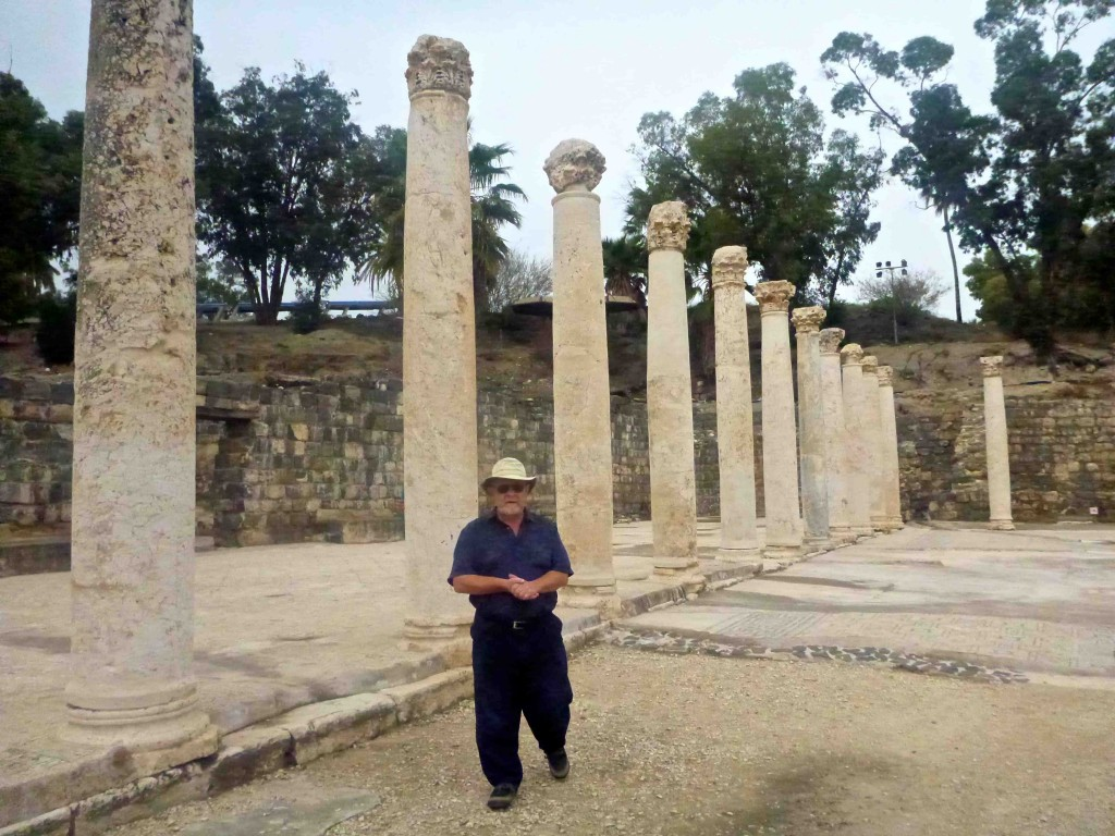 Dad standing near the ruins.
