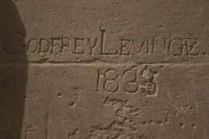 A more recent inscription on the temple walls.