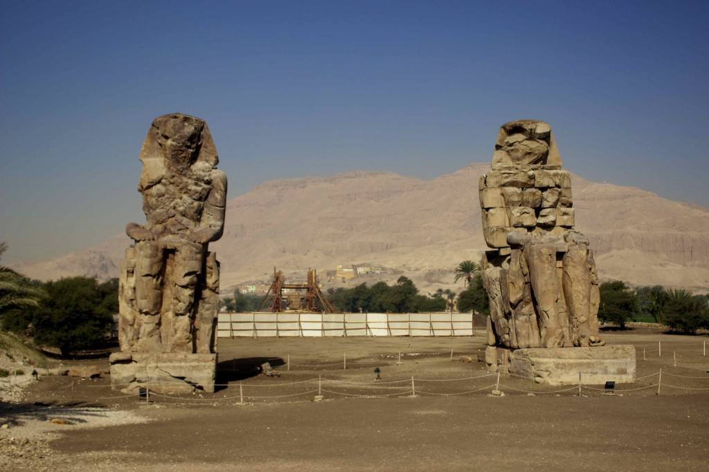 The stone statues called the Colossi of Memnon.
