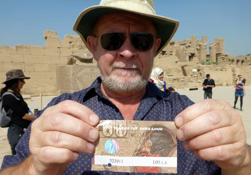 Seamus holding the ticket to view Tut's tomb.