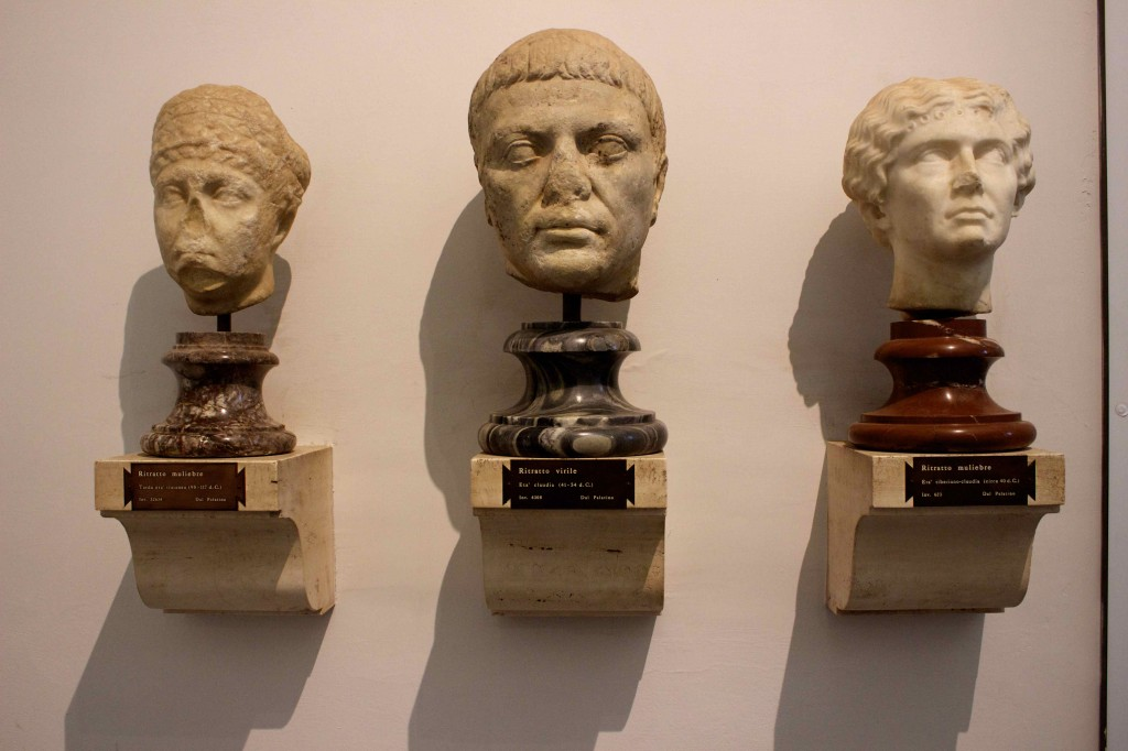 Head statues in the museum on the Palatine Hill.