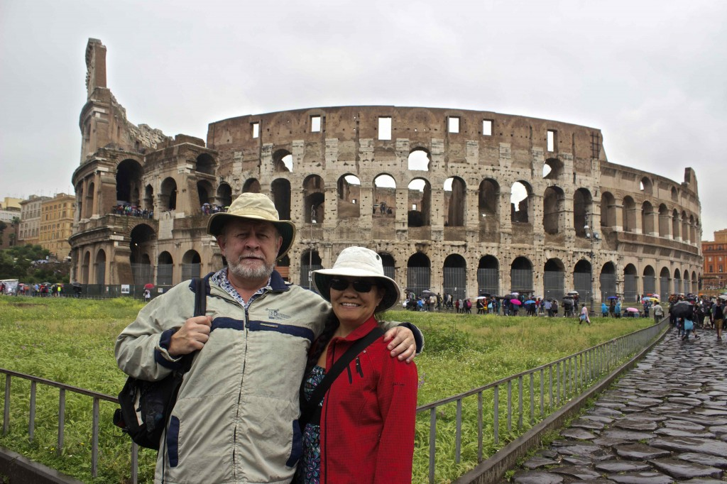 Seamus and Wanda behind the Colosseum.