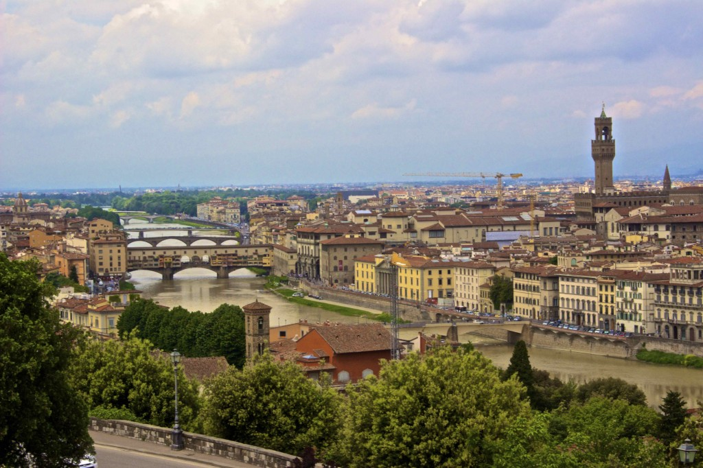 View of the city, including the Ponte Vecchio from Piazzale Michelangelo.