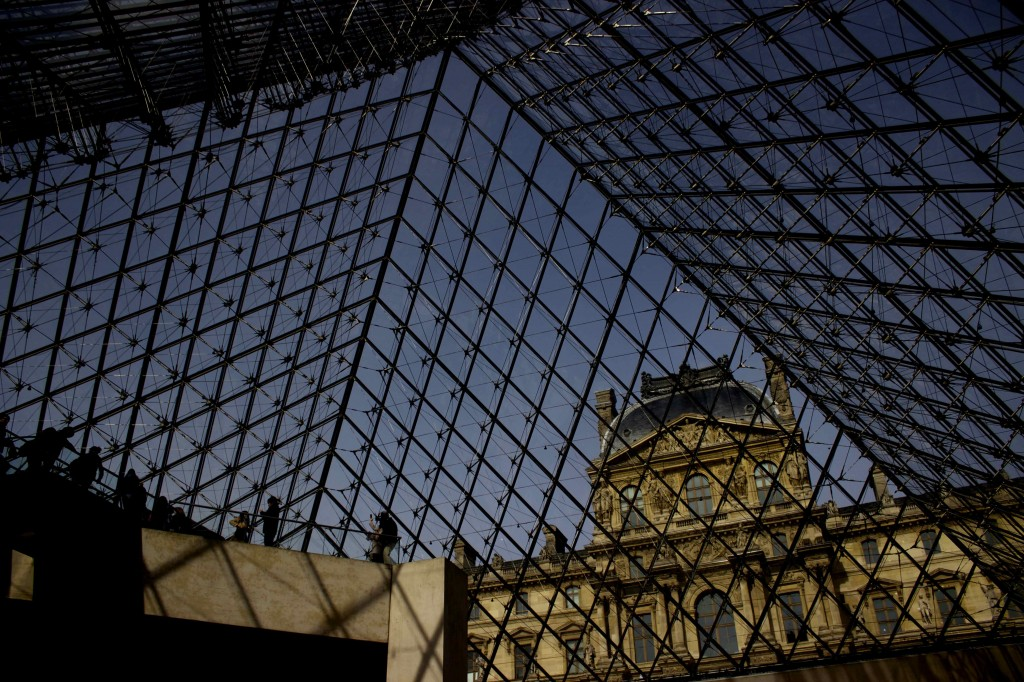 The Louvre from inside the glass pyramids.