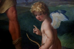 A painted cherub.
