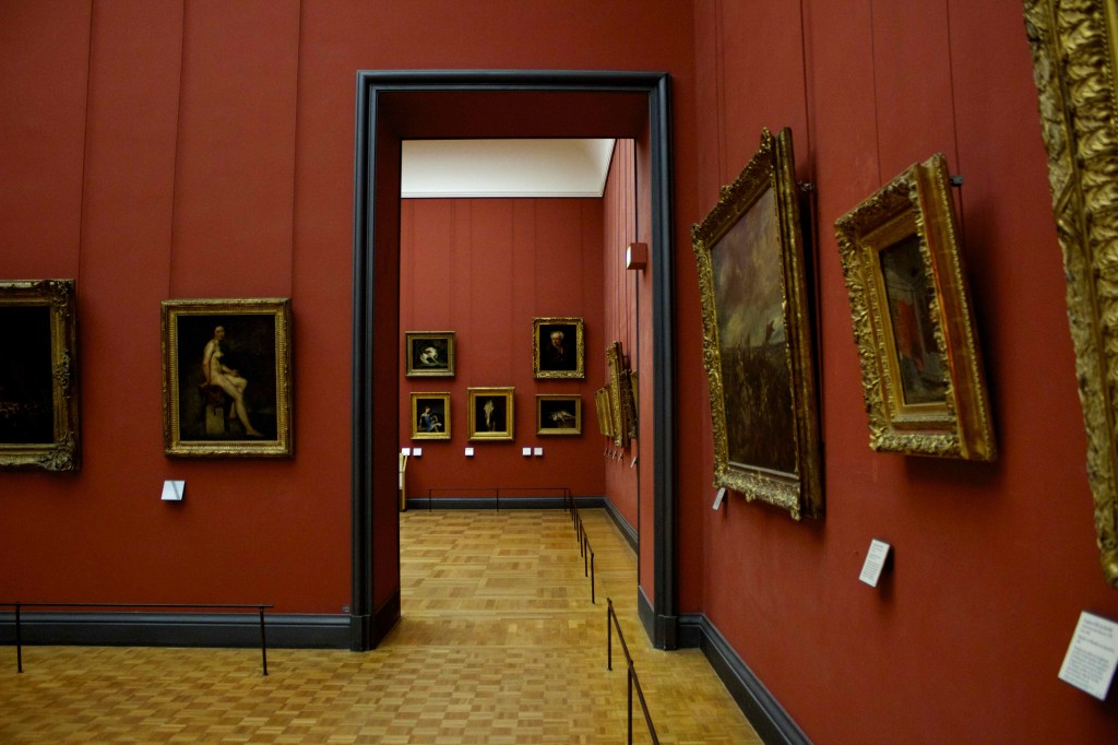Two rooms of paintings.