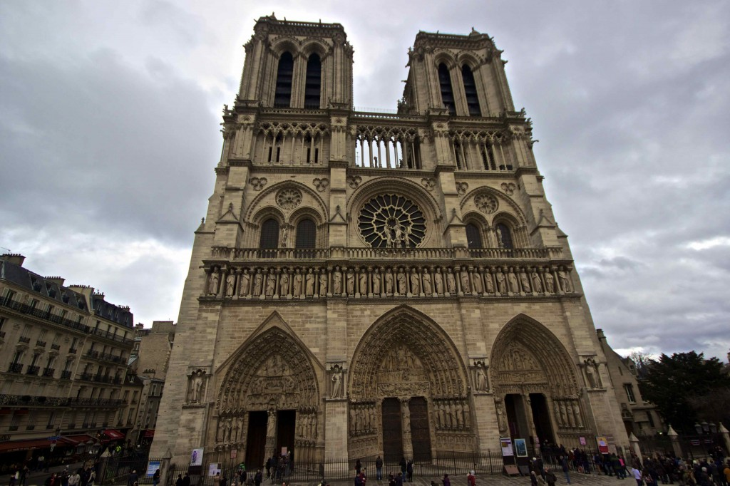 The front side of the Notre Dame.