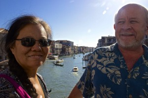 Wanda and Seamus on the Rialto bridge.