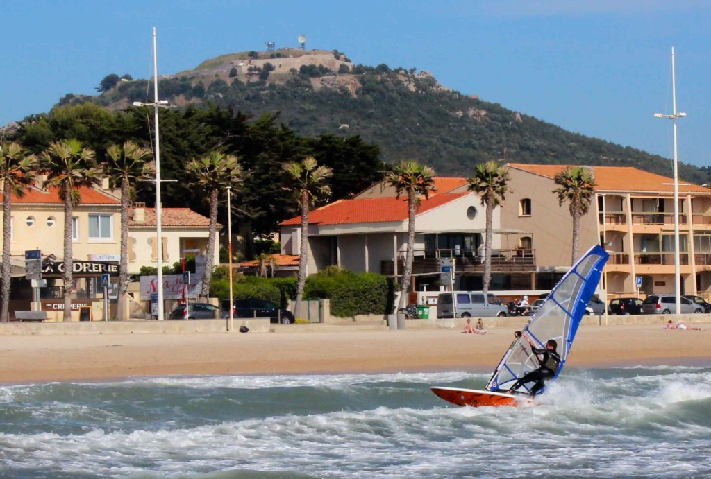 A windsurfer in Sanary-sur-Mer.