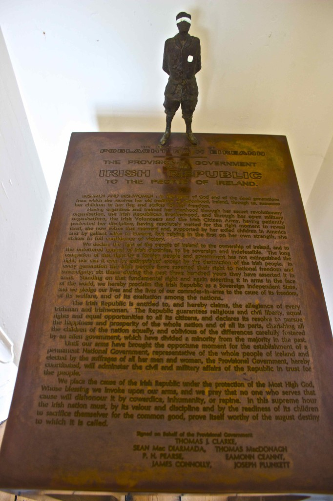 A bronze copy of the Proclamation of the Irish Republic.