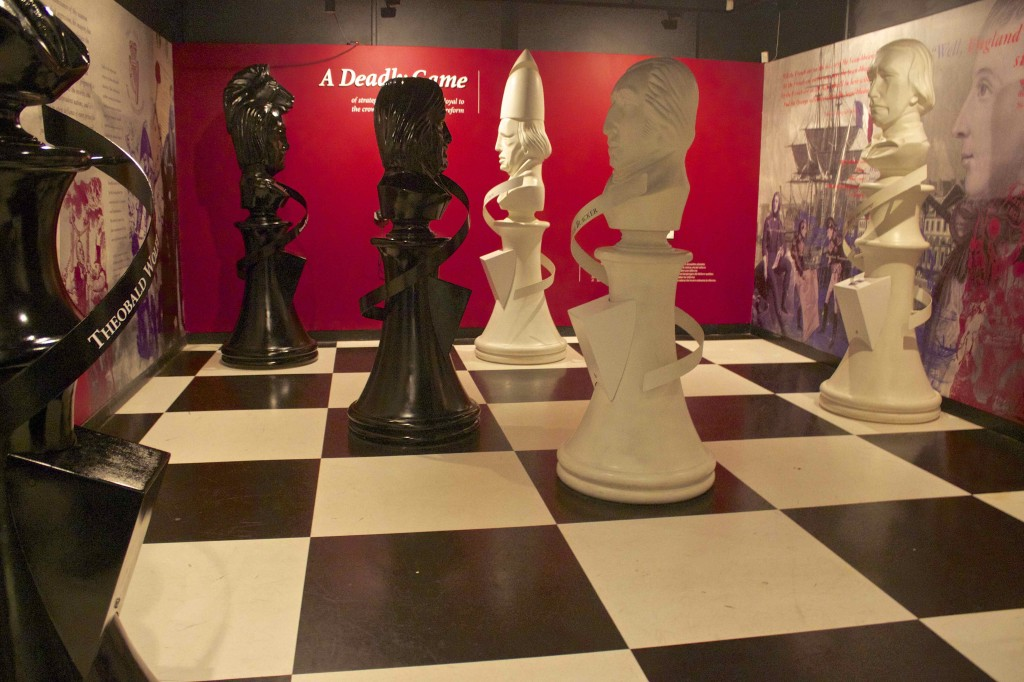 The exhibit in center describing the battles between the Irish and the British as a chess match.