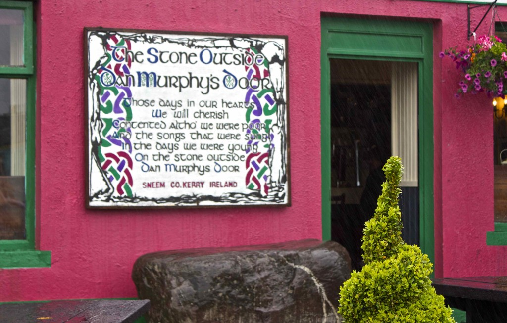 Dan Murphy's Stone outside the restaurant in Sneem.