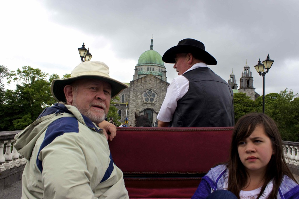 Seamus and Meadhbh in the carriage with the hood down.