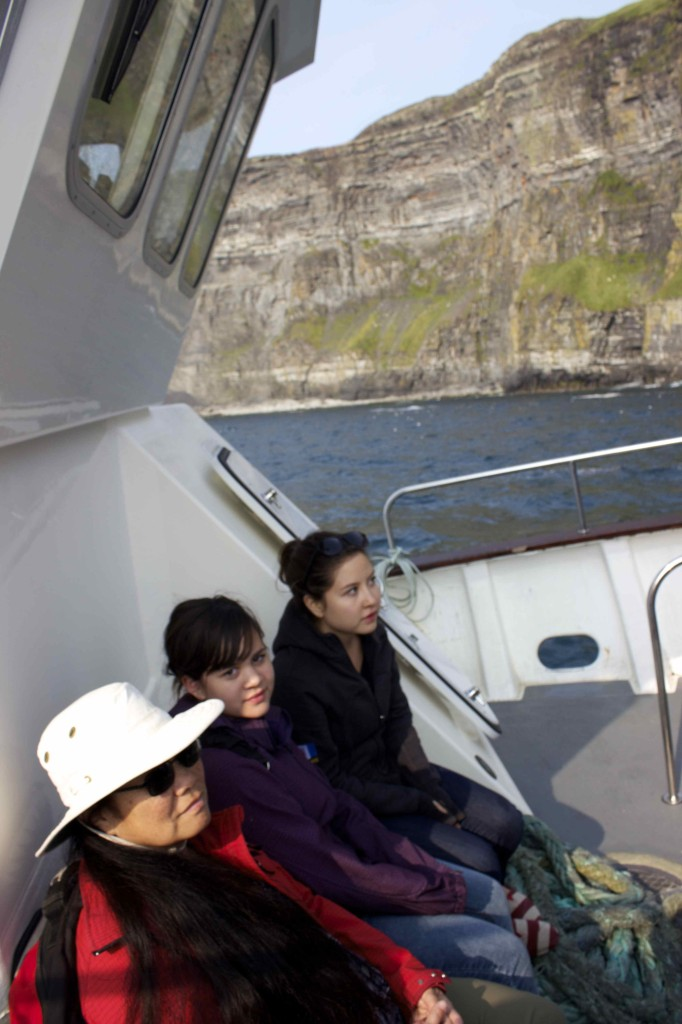 In the boat on the way to the Cliffs of Moher.